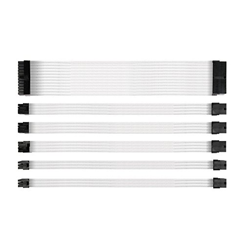 Antec Power Supply Sleeved Cable /24pin ATX /4+4pin EPS /8-pin PCI-E /6pin PCI-E PSU Extension Cable Kit 30cm Length with Combs, White ()