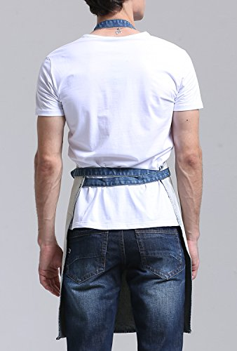 VANTOO Denim Artist Apron with 3 Pockets-Jean Painting Salon Apron-Adjustable Neck Strap-Extra Long Ties for Friends Families,White by VANTOO (Image #2)