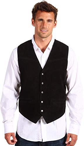 Roper Men's Suede Vest with Buckle Back Black Medium