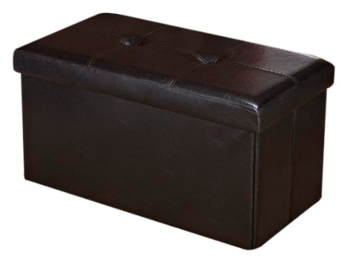 Kennedy Home Collection 30-Inch Faux leather Folding Ottoman, Chocolate