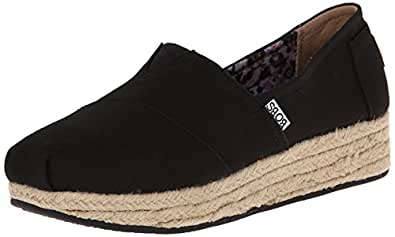 Skechers BOBS from Women's Highlights Wedge, Black Canvas, 7 M US