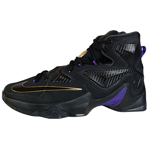 Nike Mens Lebron Xiii Scarpa Da Basket Nero / Nero-metallizzato-oro-iper Uva