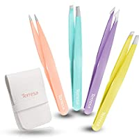 Precision Tweezers for Eyebrows, Terresa 4 Pack Tweezer Set for Ingrown Hair Removal, Professional Brow Remover Tools for Women and Girls, Hair Plucking Daily Beauty Tool with Leather Case (Color)