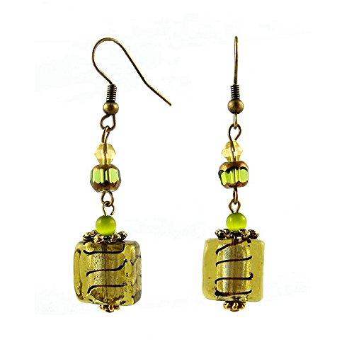 A-Ha - Square Glass Earrings - Olive Green