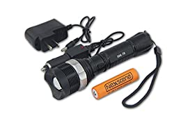 WindFire® 1800 Lumens Zoomable CREE XM-L T6 U2 LED Bulb Lamp Flashlight,7 Modes CREE LED T6 Focus Adjustable AAA/18650 Battery Lighting Lamp Torch with 2 X WindFire 4000mah 18650 Rechargeable Batteries and Charger for Camping, Hiking, Cycling etc.. by Wi