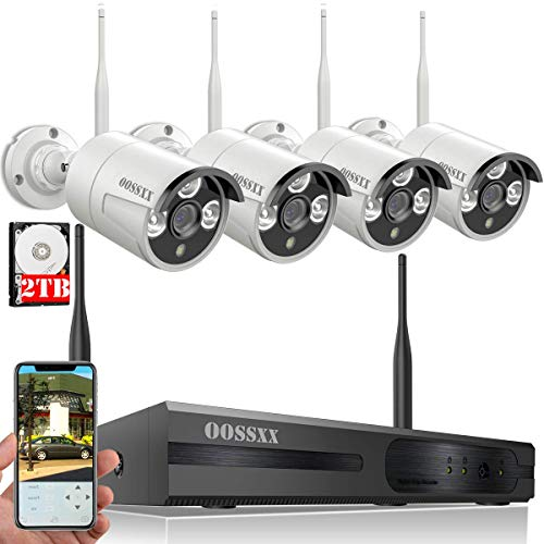 OOSSXX 4-Channel HD 1080P Wireless System/IP Security Camera System 4Pcs 1080P 2.0 Megapixel Wireless Indoor/Outdoor IR Bullet IP Cameras,P2P,App, HDMI Cord & 2TB HDD Pre-Install
