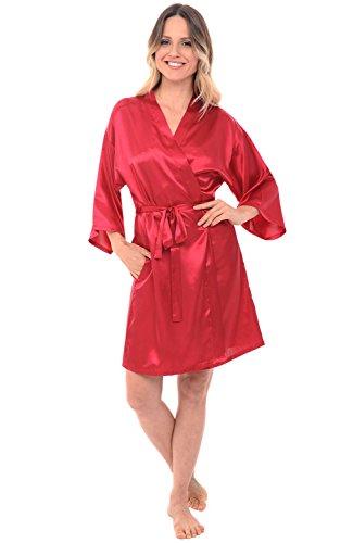 Alexander Del Rossa Womens Satin Bridesmaid Robe, Mid-Length Dressing Gown