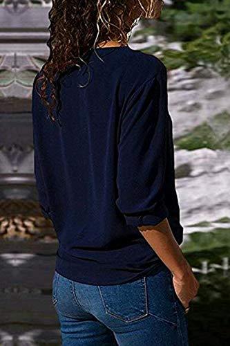 Mousseline Bleu De Chemises Soie en Tops Irrgulire Chemise Casual Blouse Fonc Manches Longues Femmes BpqT70p