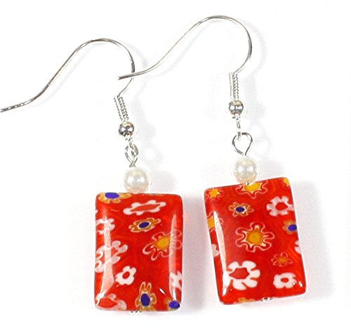 Millefiori Fun Venetian Millefiori Style Bright Red Earrings, Dangle 1.5 Inches (Earrings White Venetian)