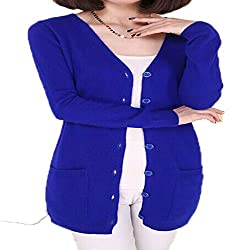 Molif Wool Sweater Medium Long Cashmere Cardigan Women Loose Sweater Outerwear Coat With Pockets Sapphire Blue L