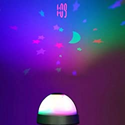 1pc Colors LED Changing Star Night Light Magic Projector Backlight Clock,Moon and Stars Projection Alarm Clock for Children
