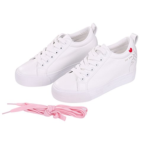 4c623bb952aaa2 ... Smiry Femmes Mode Casual Baskets Blanc En Cuir Lacets Chaussures Plates  Caché Talon Wedge Chaussures Amour