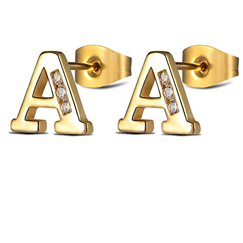 Alphabet Earrings Sets Gold Initial Letter Studs for Women Girls Tiny Stainless Steel Hypoallergenic Sensitive Ears - Ring Initials Gold