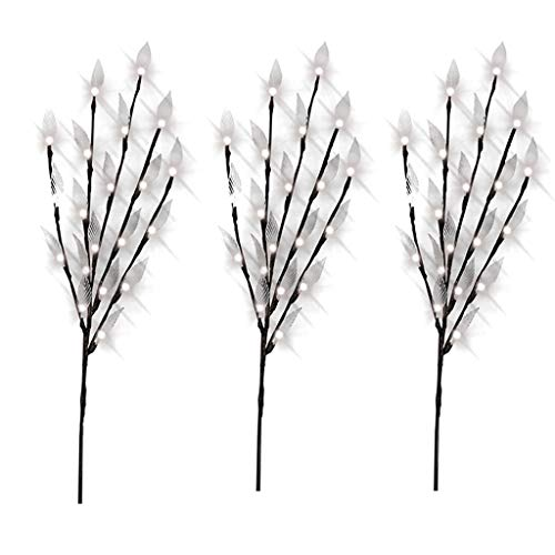 - Euone Stylish Branch Tree Twig Leaf Solar Outdoor Garden 60 Warm White LED Lights 3Pcs (C)