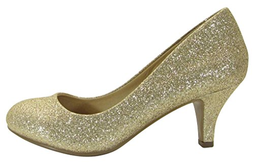 Cambridge Select Dames Gesloten Ronde Neus Gevoerde Comfortabele Instapper Mid-hak Pomp Gouden Glitters