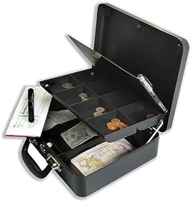 Helix - Caja metálica para dinero (acero, cerradura con llave, asa, 320 x 230 x 110 mm), color negro: Amazon.es: Oficina y papelería