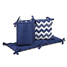 Navy Blue Zig Zag and Solid Reversible Baby Crib Bumper by The Peanut Shell