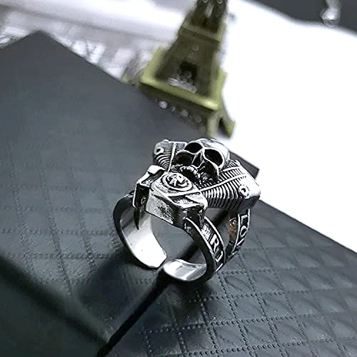 XJW Stainless Steel Gothic Skull Vintage Antique Jewelry for Men and Women Fashion Punk Biker Skull Rings Steel Open Ring Adjustable Personalized Rings
