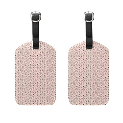 MUOOUM White Flower Pink Background Luggage Tages Travel Labels Suitcase Bag Tag with Name Address Cards 2 Pcs Set -