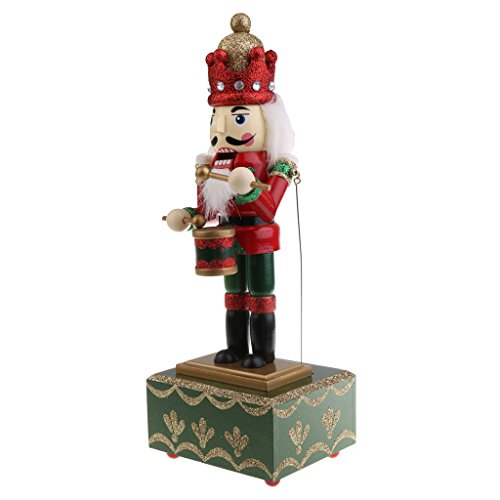 MonkeyJack 32CM Xmas Wooden Drummer Nutcracker Beat Drum with Music Wind Up Music Box Toy Christmas Party Ornament