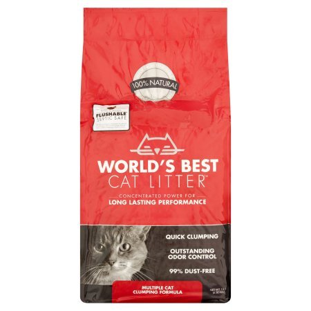 World's Best Cat Litter Multiple Cat Clumping Formula, 15 Pound Bag (3 Pack)