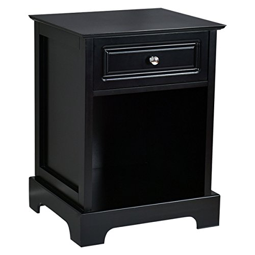 Giantex Night Stand End Table w/Drawer Open Shelf Home Bedroom Furniture Chest Sofa Side Bedside Storage Table Black (1) (Black Bedroom Tables End)