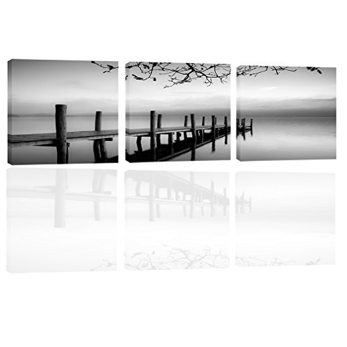 Canvas Wall Art Seascape Picture Modern Wall Art Painting Prints on Canvas Stretched and Framed Ready to Hang Artworks for Living Room Home Decor 3 Panels (Wooden Bridge 50x50)