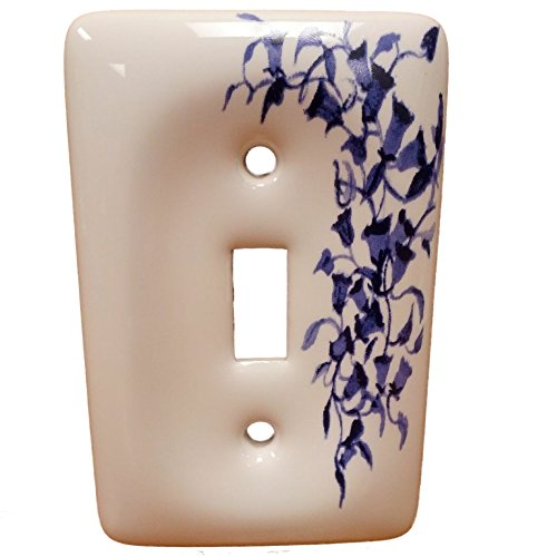Leviton Blue Flower Porcelain Switch Cover Wallplate Switchplate 89501-BL