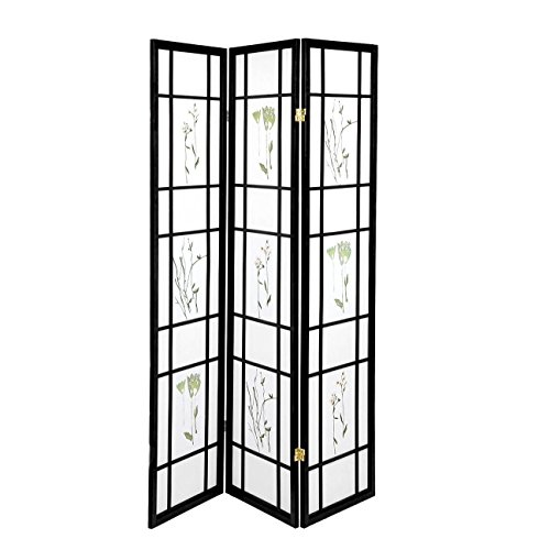 Oriental Divider Room Floral (High Quality Oriental Room Divider Hardwood Shoji Screen (Floral Print-Black, 3-Panel))