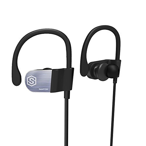 SmartOmi WIT Bluetooth 4.1 Sports Headphones Wireless In Ear Earphones IPX4 Waterproof Sweatproof Running Earbuds Stainless Steel Silicone Ear Hooks Compatible with iOS and Android for Gym Workout