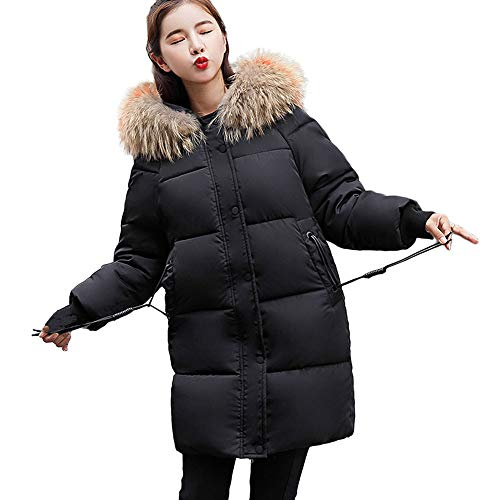 Black Plain Thick Oversized Long Quilted Size Faux Button Jacket Zipper Parka Fur Plus Quilted Hooded Coat Overcoat Womens Warm Lazzboy w7zHqH