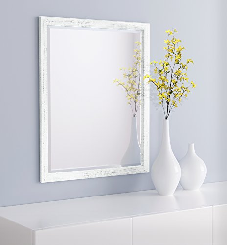 LND Reflections Framed Beveled Mirror – 25″x31″ or 27″x39″ (25″ x 31″, Marshmallow White) For Sale