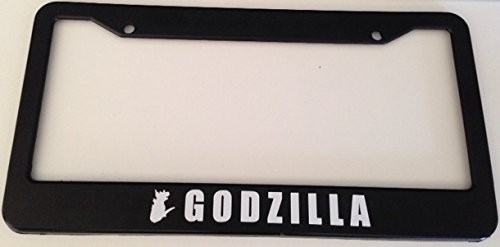 Godzilla with Silhouette - Automotive Black License Plate Frame - Gtr Jdm Racing (Godzilla License Plate Frame compare prices)