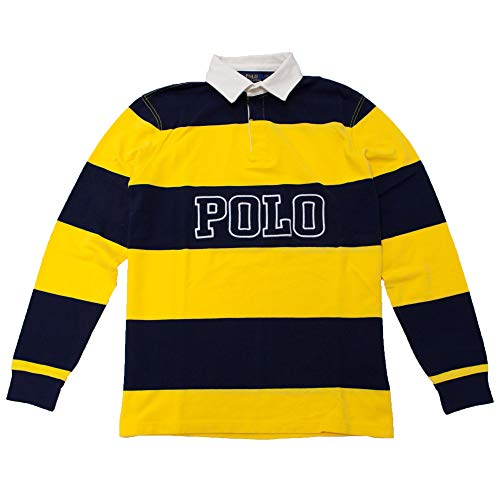 Polo Ralph Lauren Classic Fit Striped Long Sleeve Rugby Polo Shirt (Medium, Yellow/Navy)