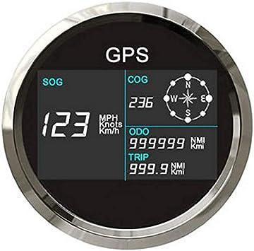 ELING Velocímetro GPS digital Medidor de velocidad LCD Odómetro ajustable con antena GPS Alarma de sobrevelocidad de 85mm