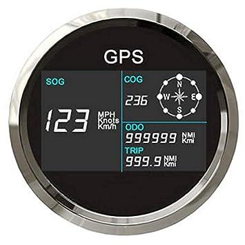 Nueva 7 luces traseras 85 mm coche barco GPS velocímetro digital LCD medidor de velocidad odómetro curso con antena GPS: Amazon.es: Coche y moto