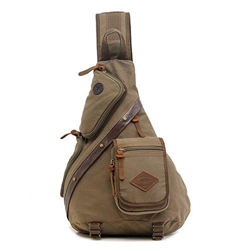 DeLamode Männer Multifunktionstaschen Umhängetasche Reise Messenger Chest Breitband Taschen Khaki Armeegrün szHvaNIO