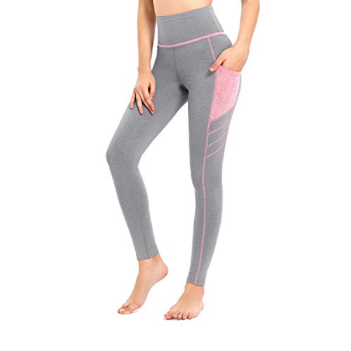 Sylonway High Waist Yoga Pants with Pockets for Women,Tummy Control,Workout Running Yoga Leggings Gray/Red S