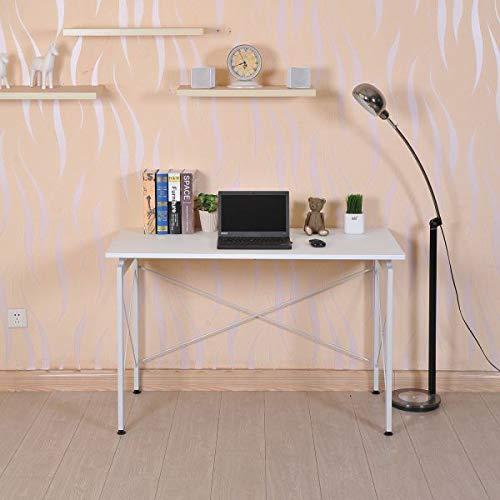 (Modern Computer Desk Desktop Writing Workstation White Home Office Furniture Simple Dorm Room Compact Living Room Bedroom)
