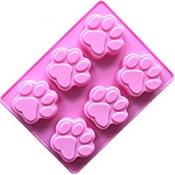 6 Cat Paw Shape Silicone Fondant Cake Mold Home Diy Baking Mould-18.5*14*1.5cm(7.3*5.5*0.6inches)