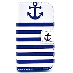 WQQ Stripe Anchor Pattern PU Leather Case with Card Slot and Stand for Samsung Galaxy Ace 4 G313H