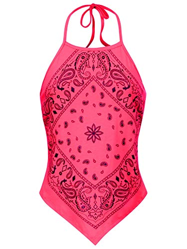 (Instar Mode Women's Sexy Paisley Bandana Halter Top Shirt- Made in USA Neon Pink L)
