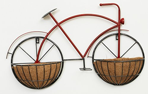 (28 inch Metal Bicycle Hanging Wall Planter Stand - Indoor/Outdoor Use)