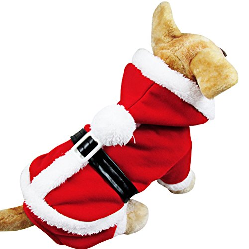 [OSPet Pet Christmas Costumes Dog Suit Santa Outfit Puppy Hoodies S] (Dog Outfits For Christmas)