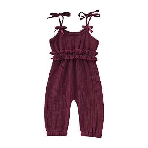 Flower Button Bodysuit - Newborn Baby Girls Flower Animal Print Romper Bodysuit Outfits Spring Summer Tops (Wine red, 18-24 Months(100))