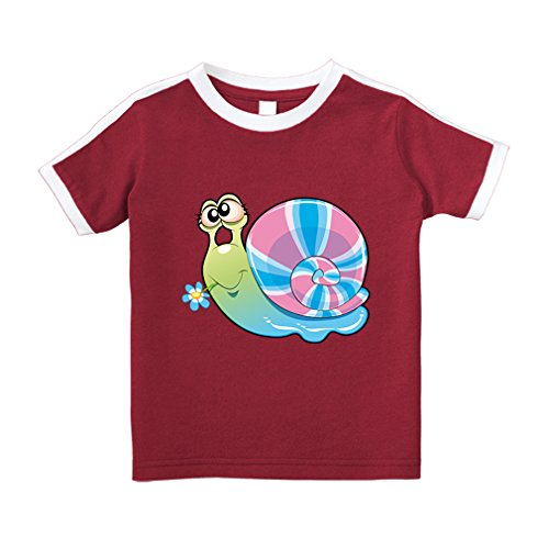 Cute Rascals Snail With Flower In Mouth Funny Cotton Short Sleeve Crewneck Unisex Toddler T-Shirt Soccer Tee - Red, 5/6T