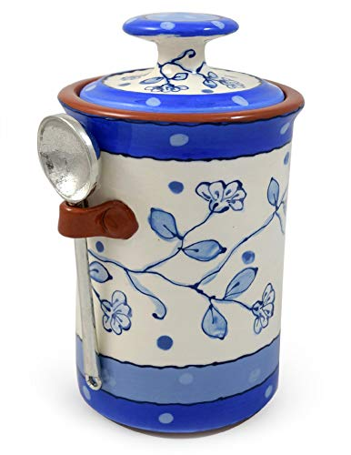 American Handmade Terra Cotta Pottery Kitchen Canister with Pewter Spoon, Wildflower Blue -