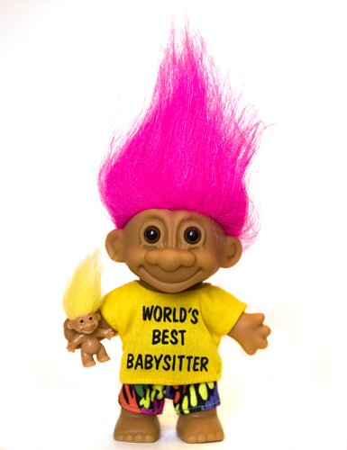 My Lucky WORLD'S BEST BABYSITTER Troll Doll with BABY TROLL (Hot Pink Hair) ()