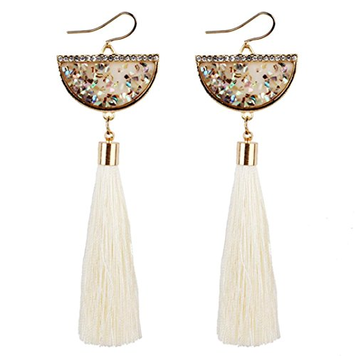 Fabal Vintage Women Bohemian Earrings Long Tassel Fringe Dangle Earrings Jewelry (White) (Abalone White Ring)