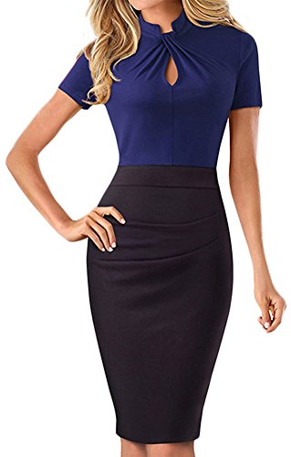 LunaJany Women's Sexy Short Sleeve Warp Wiggle Dress with Knee Length